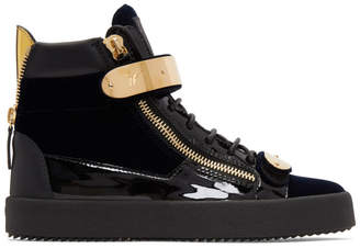 Giuseppe Zanotti Navy Velvet May London High-Top Sneakers