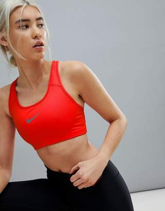Nike Training Medium Support Swoosh Bra In Red