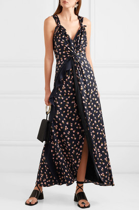 Self-Portrait Twisted Ruffled Floral-print Satin-twill Dress - Black