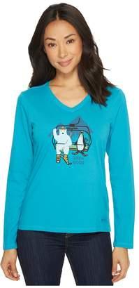 Life is Good Bear Penguin Ski Long Sleeve Crusher Vee Women's Long Sleeve Pullover