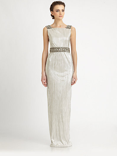 Notte by Marchesa Metallic Silk Pleated Gown