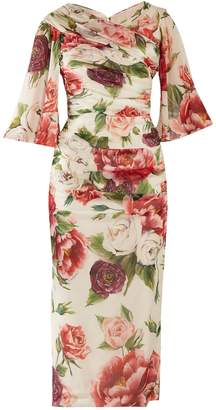 Dolce & Gabbana Peony and rose-print georgette midi dress