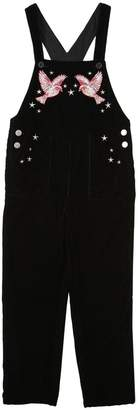 Stella McCartney Hummingbirds Embroidered Velvet Overalls