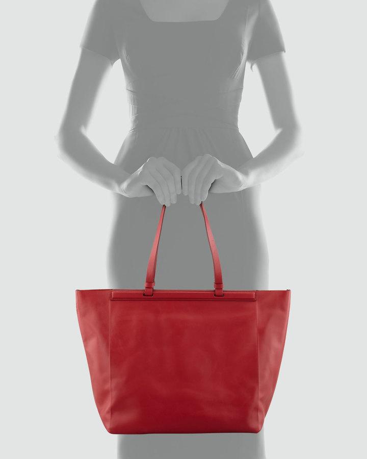 The Row The Shopper Calfskin Tote Bag, Ruby
