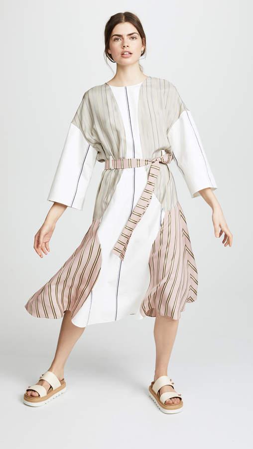 Barre Satin Belted Dress
