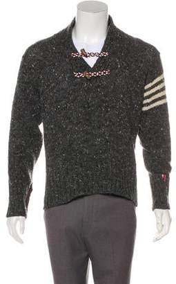 Thom Browne Donegal Wool Shawl Collar Sweater