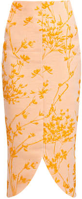 Bambah Naranja Embroidered Midi Pencil Skirt