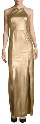 Halston H Long Metallic Cocktail Dress