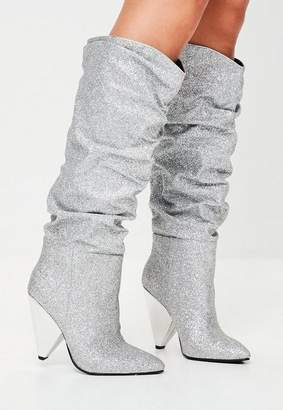 Missguided Silver Ruched Calf Boots