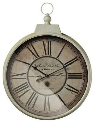 Sterling Carte Postal Clock With Antique Cream Metal Frame