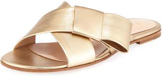 Gianvito Rossi Flat Metallic Ribbon Slide Sandal