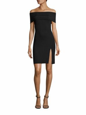 BCBGMAXAZRIA Kaori Off-The-Shoulder Rib-Knit Dress $198 thestylecure.com