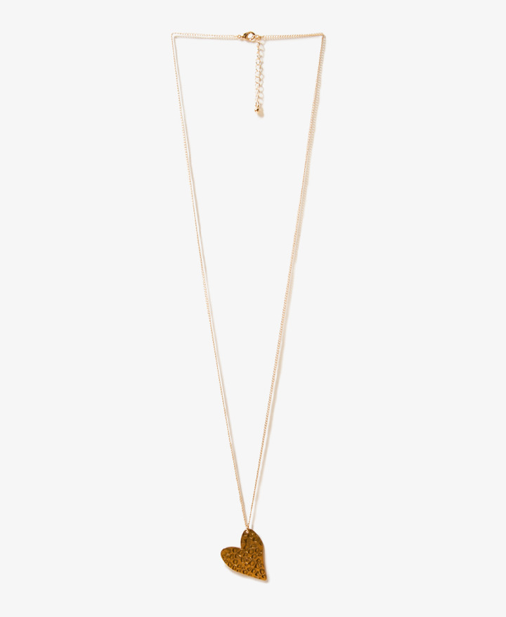 Forever 21 Hammered Metal Heart Necklace
