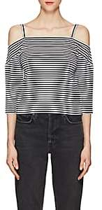 Robert Rodriguez Women's Striped Stretch-Cotton Cold-Shoulder Top - Black