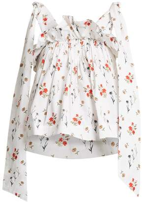 Teija - Floral Print Ruffle Blouse - Womens - White Print