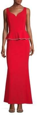 Karl Lagerfeld Paris V-Neck Peplum Gown