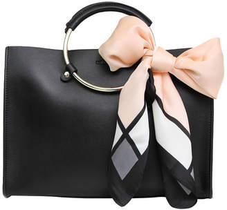 Belle & Bloom Palm Beach Black Leather Satchel With Scarf