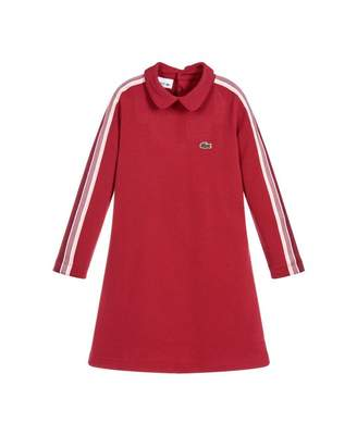 Lacoste Peter Pan Collar Striped Dress Colour: RED, Size: Age 4