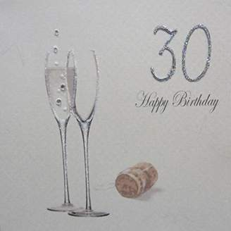 WHITE COTTON CARDS 30 Happy Birthday Handmade 30th Birthday Card with Champagne Design, Silver