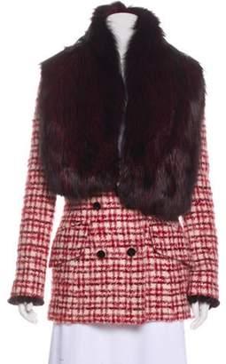 Zang Toi Wool Fur Trimmed Blazer Red Zang Toi Wool Fur Trimmed Blazer