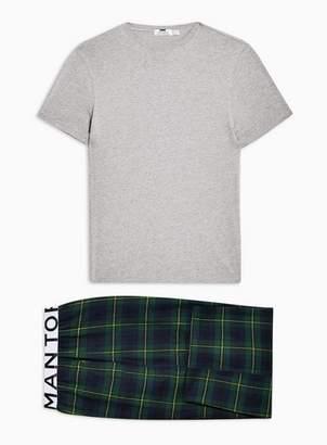 Topman Mens Multi Grey T-Shirt and Black Watch Loungewear Bottoms Set