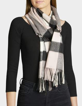 Burberry Half Mega Check Scarf in Ash Rose Cashmere