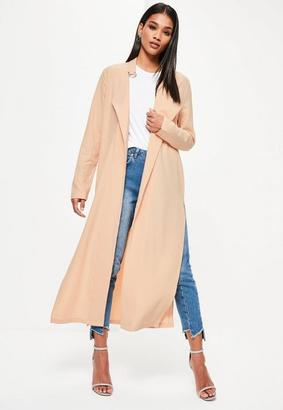 Nude Long Sleeve D Ring Detail Maxi Duster Coat $66 thestylecure.com