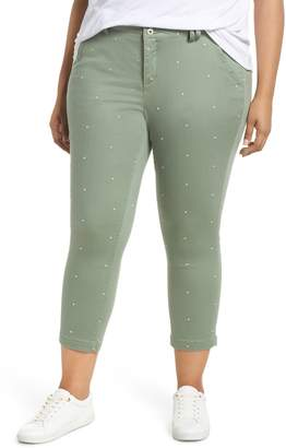 Jag Jeans Flora Polka Dot Stretch Cotton Crop Pants
