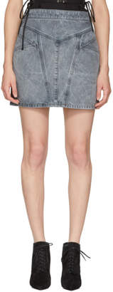 Givenchy Grey Denim Lightning Miniskirt