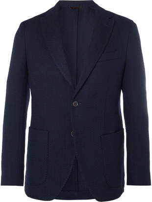 Altea Navy Slim-Fit Unstructured Herringbone Virgin Wool Blazer