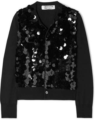 Comme des Garcons Sequined Wool Cardigan - Black