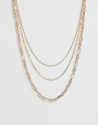 Miss Selfridge layered chain necklace in rose gold