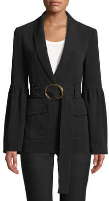 Derek Lam 10 Crosby Shawl-Collar One-Button Crepe Blazer with Belt