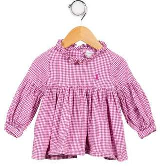 Ralph Lauren Girls' Gingham Long Sleeve Shirt