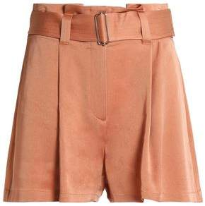 A.L.C. Belted Pleated Crepe Shorts