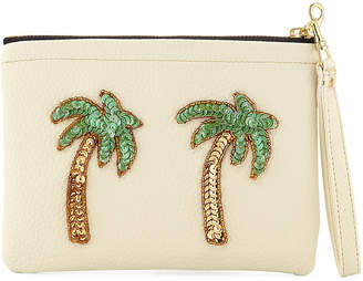 Tea & Tequila Vegan Palm Tree Clutch Bag, White