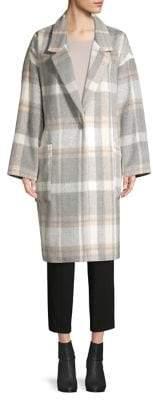 Calvin Klein Plaid Patch Pocket Wool-Blend Coat