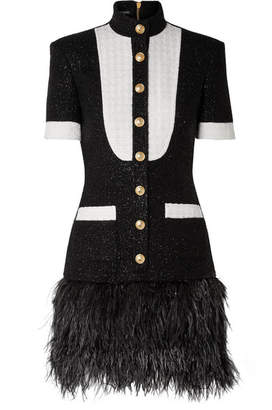 Balmain Feather-trimmed Metallic Wool-blend Tweed Mini Dress - Black