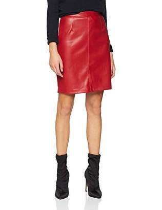 Noisy May Women's Nmpenny Pu Skirt Noos, Red Flame Scarlet, 8 (Manufacturer Size: )