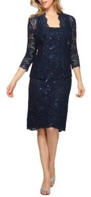 Alex Evenings Sequined Lace Dress and Jacket