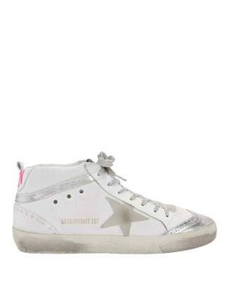 Golden Goose Mid Star Pink Back Leather Sneakers