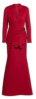 Badgley Mischka Women's Scuba Side-Wrap Gown