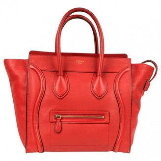 Celine Luggage Red Leather Handbag