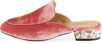 Neiman Marcus Adria Velvet Mules with Jeweled Heel, Antique Rose