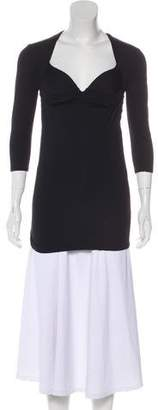Versace Three-Quarter-Sleeve Ruched Top