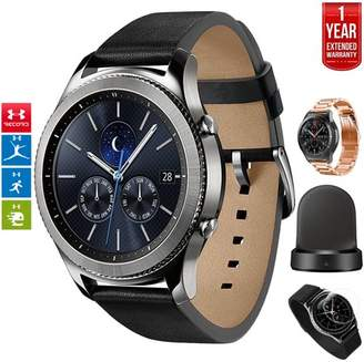 Samsung Gear S3 Classic Bluetooth Watch with Built-in GPS Silver (SM-R770NZSAXAR) with Wireless Charger Bundle + Wrist Band Rose Gold + 1 Year Extended Warranty