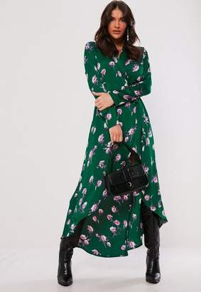 Missguided Green Floral Midi Shirt Dress