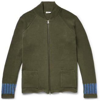 Eidos - Slim-Fit Intarsia Cotton and Linen-Blend Zip-Up Cardigan