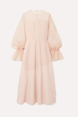 REJINA PYO - Lois Linen-blend And Organza Maxi Dress - Blush