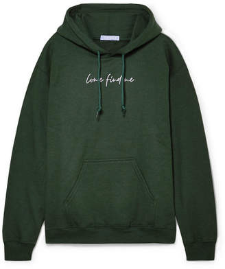 Paradised - Printed Cotton-blend Fleece Hoodie - Forest green